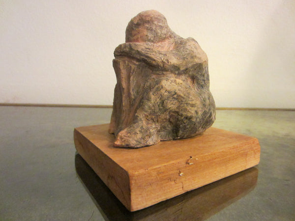 The Thinker Abstract Folk Art Terracotta Sculpture On Natural Wood - Designer Unique Finds