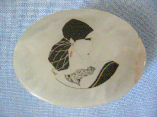 Italian Alabaster Oblong Jewelry Box Hand Painted Signed Portrait - Designer Unique Finds   - 4