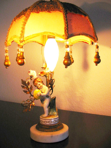 Limoges France Figurine Boudoir Lamp Bronze Gilding Marble Base Pendant Shade - Designer Unique Finds   - 2