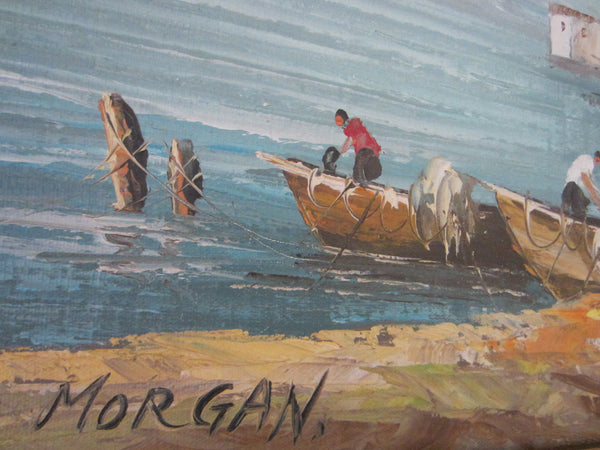 Morgan Seascape Oil on Canvas Coastal Maritime Signed Painting - Designer Unique Finds   - 6