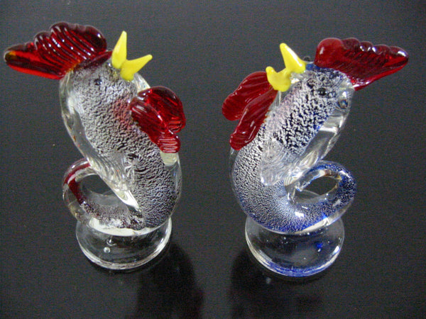 Murano Italy Bullicante Glass Roosters Yellow Beaks Blue Flecks - Designer Unique Finds