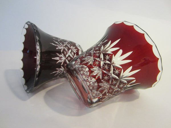 Cut Overlay Burgundy Glass Bowls Clear Finger Loop - Designer Unique Finds