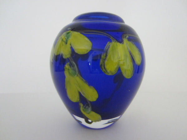 Murano Glass Deep Blue Blown Vase Infused Yellow Flowers - Designer Unique Finds