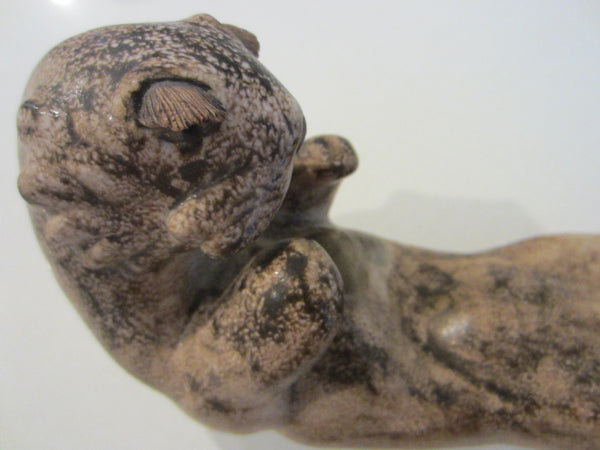The Otter Signed Ceramic Maritime Sea Creature Earth Tone Sculpture