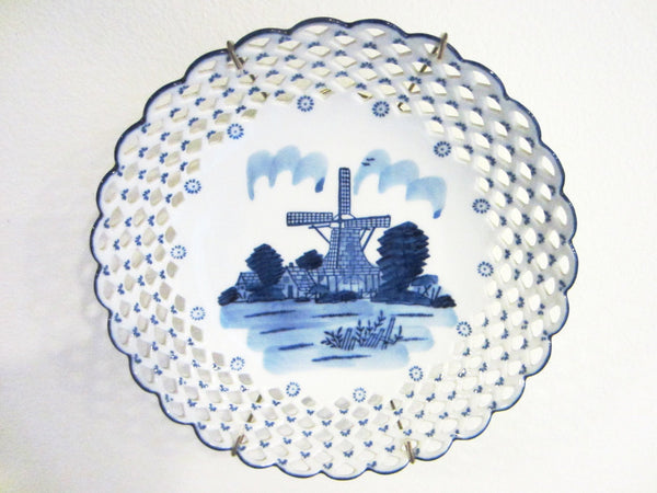 Blue White Reticulated Windmill Transfer Bowl Signed DN And EI Delft Style - Designer Unique Finds