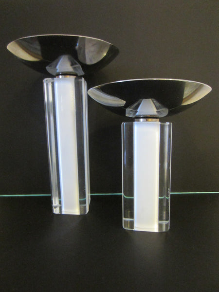Pillar Glass Signed Candle Holders Chrome Top - Designer Unique Finds   - 2
