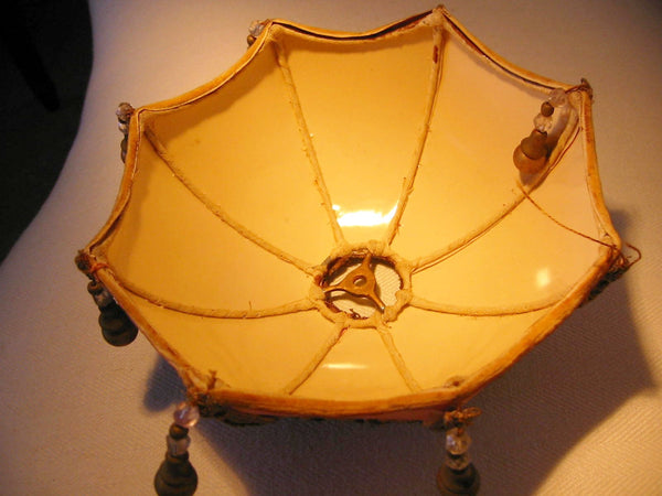 Limoges France Figurine Boudoir Lamp Bronze Gilding Marble Base Pendant Shade - Designer Unique Finds   - 6