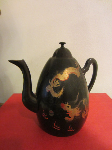 Lacquered Black Teapot Gold Dragon Signed Shin Shao Anseukee Foochow China - Designer Unique Finds