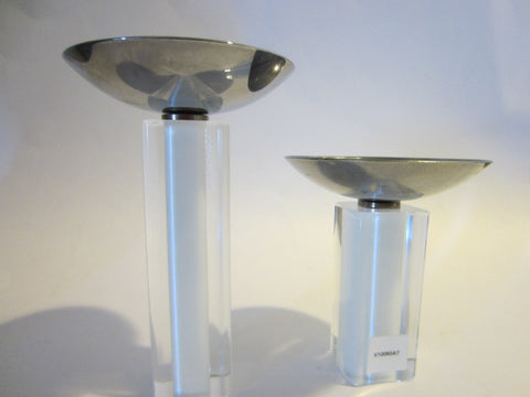 Pillar Glass Signed Candle Holders Chrome Top - Designer Unique Finds   - 1