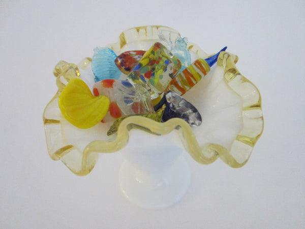 Milk Glass Golden Sheen Art Glass Ruffled Vase - Designer Unique Finds
