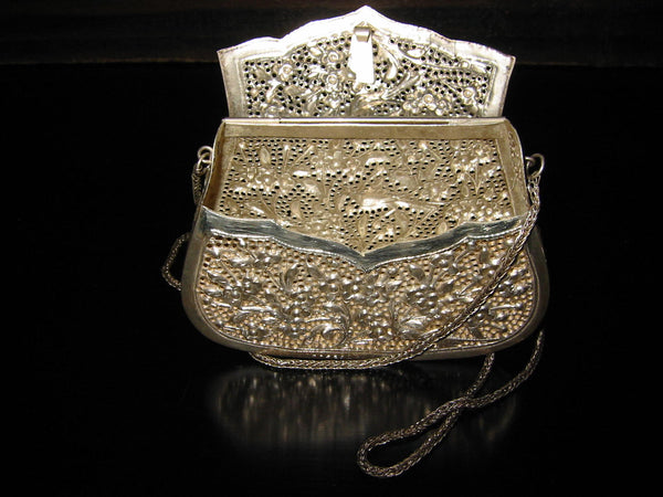 Silver Plated Filigree Purse Clutch Evening Bag Decorated Floral Birds - Designer Unique Finds