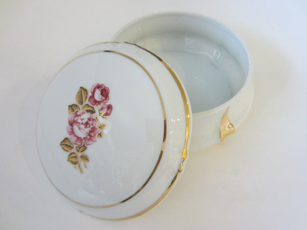 Limoges France Porcelain Box Rose Medallion Gilt Rim - Designer Unique Finds   - 1
