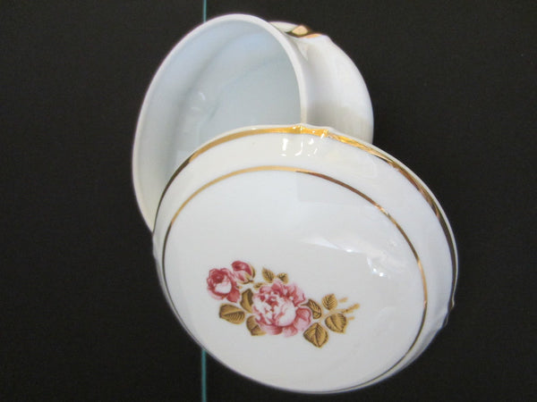 Limoges France Porcelain Box Rose Medallion Gilt Rim - Designer Unique Finds   - 3