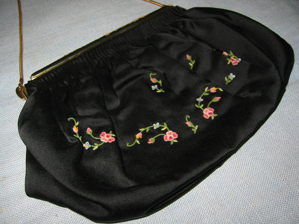 French Clutch Black Satin Purse Floral Embroidery Brass Chain Strap - Designer Unique Finds   - 1