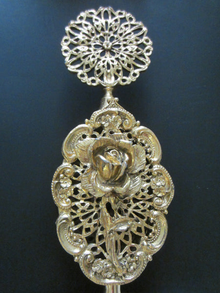 Ormolu Rose Perfume Bottle Mid Century Filigree Brass Scrolled Openwork - Designer Unique Finds   - 7