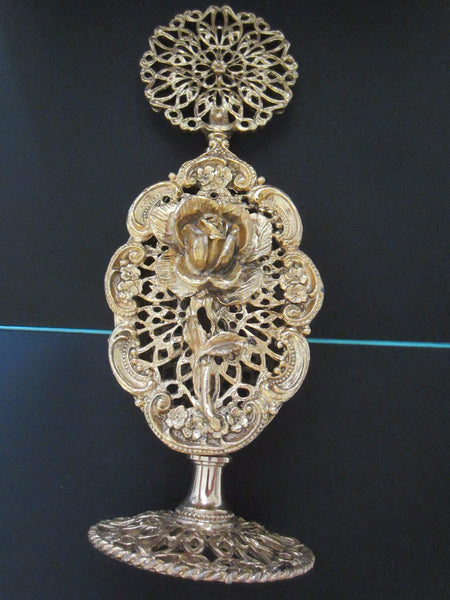 Ormolu Rose Perfume Bottle Mid Century Filigree Brass Scrolled Openwork - Designer Unique Finds   - 3