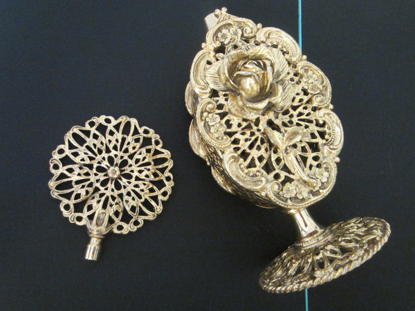 Ormolu Rose Perfume Bottle Mid Century Filigree Brass Scrolled Openwork - Designer Unique Finds   - 2