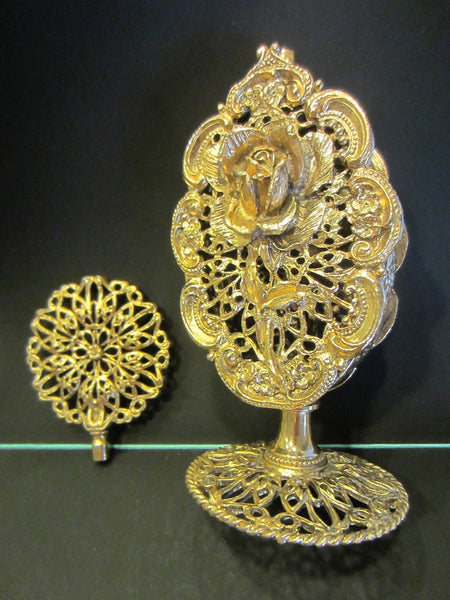 Ormolu Rose Perfume Bottle Mid Century Filigree Brass Scrolled Openwork - Designer Unique Finds   - 1