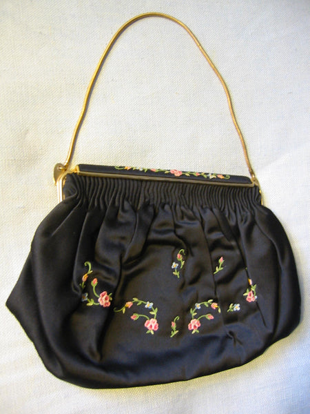 French Clutch Black Satin Purse Floral Embroidery Brass Chain Strap - Designer Unique Finds   - 2