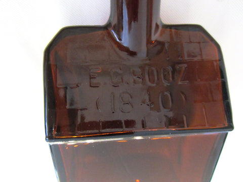 Art Deco Amber Glass Whiskey Decanter EG Booz Liquor Bottle - Designer Unique Finds   - 3