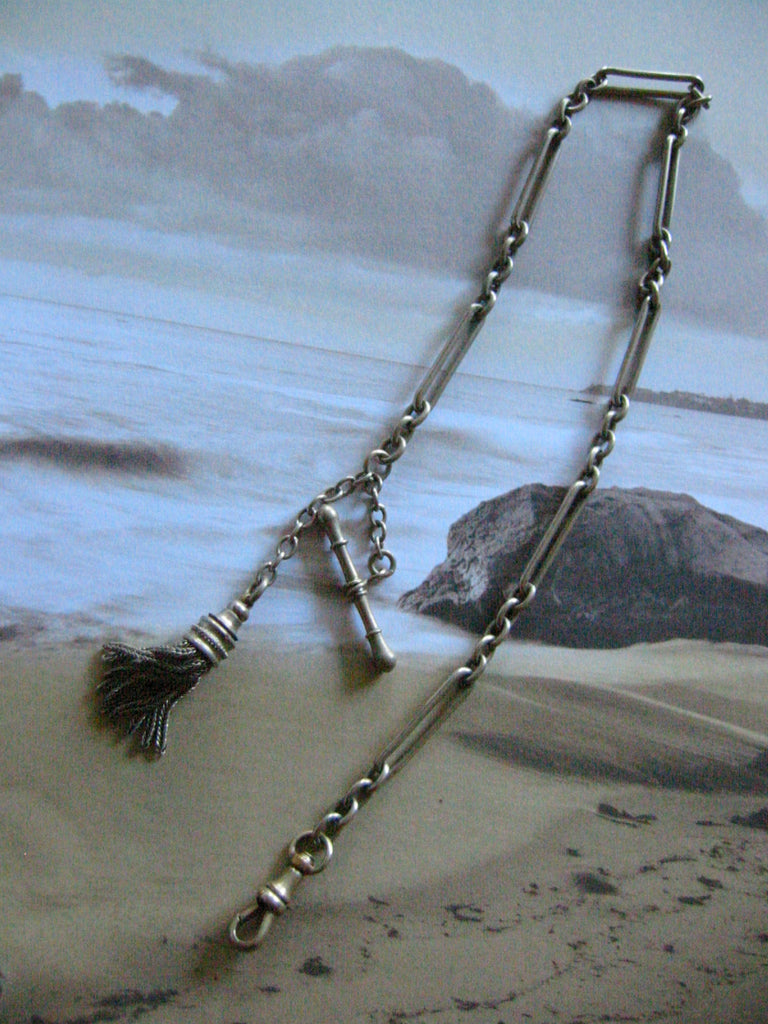 Fancy Twist Motif Tassel Silver Pocket Watch Chain Fob