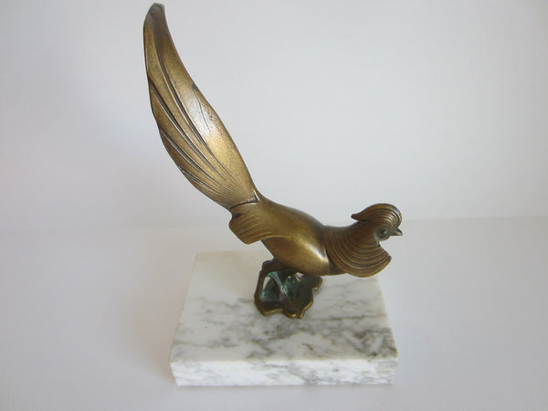 Bronze Rooster Abstract Folk Art On Marble Base