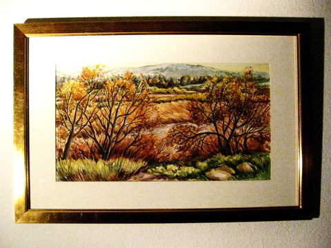 California University Of Irvine Landscape Watercolor Signed Leslie Avalos - Designer Unique Finds   - 2