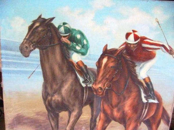 Polo Game De Voe Oil on Canvas Equestrian Horses Riders - Designer Unique Finds   - 1