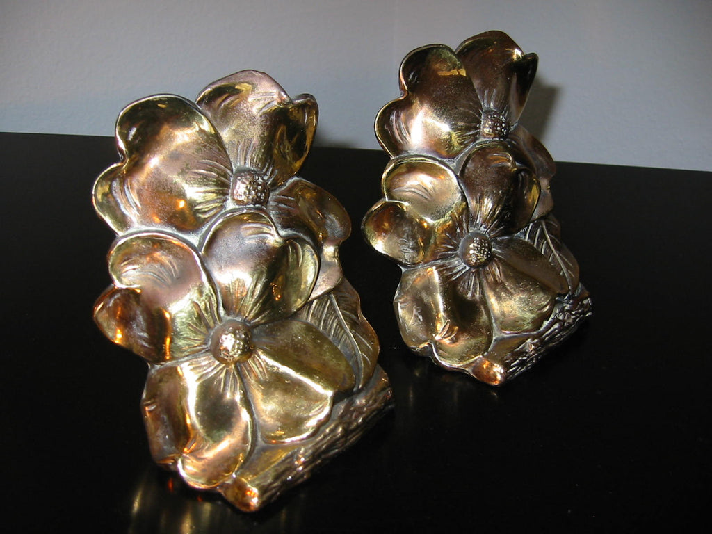 Bronze Art Deco Bookends Dog Wood Flowers - Designer Unique Finds