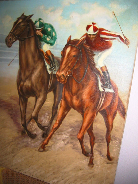 Polo Game De Voe Oil on Canvas Equestrian Horses Riders - Designer Unique Finds   - 6