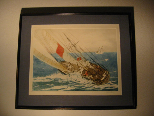 Lupe Chown California Aquatint The Winner Miriam Sail Boat Laguna Beach - Designer Unique Finds