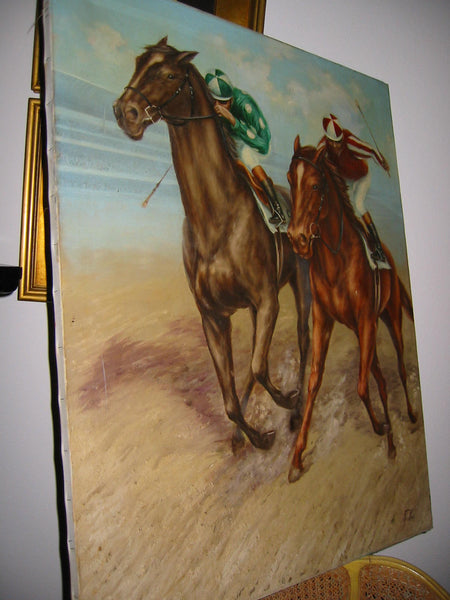 Polo Game De Voe Oil on Canvas Equestrian Horses Riders - Designer Unique Finds   - 5