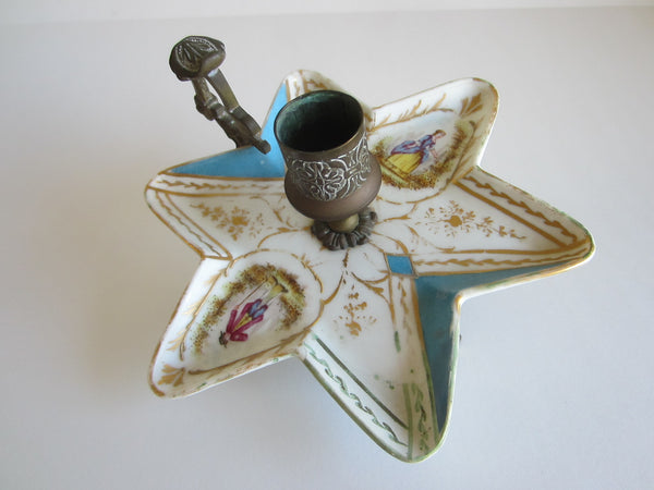 Minton Porcelain Star Candle Holder Bronze Handle Footed Romantic Medallions - Designer Unique Finds