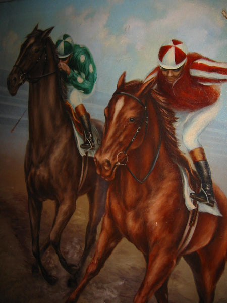 Polo Game De Voe Oil on Canvas Equestrian Horses Riders - Designer Unique Finds   - 2
