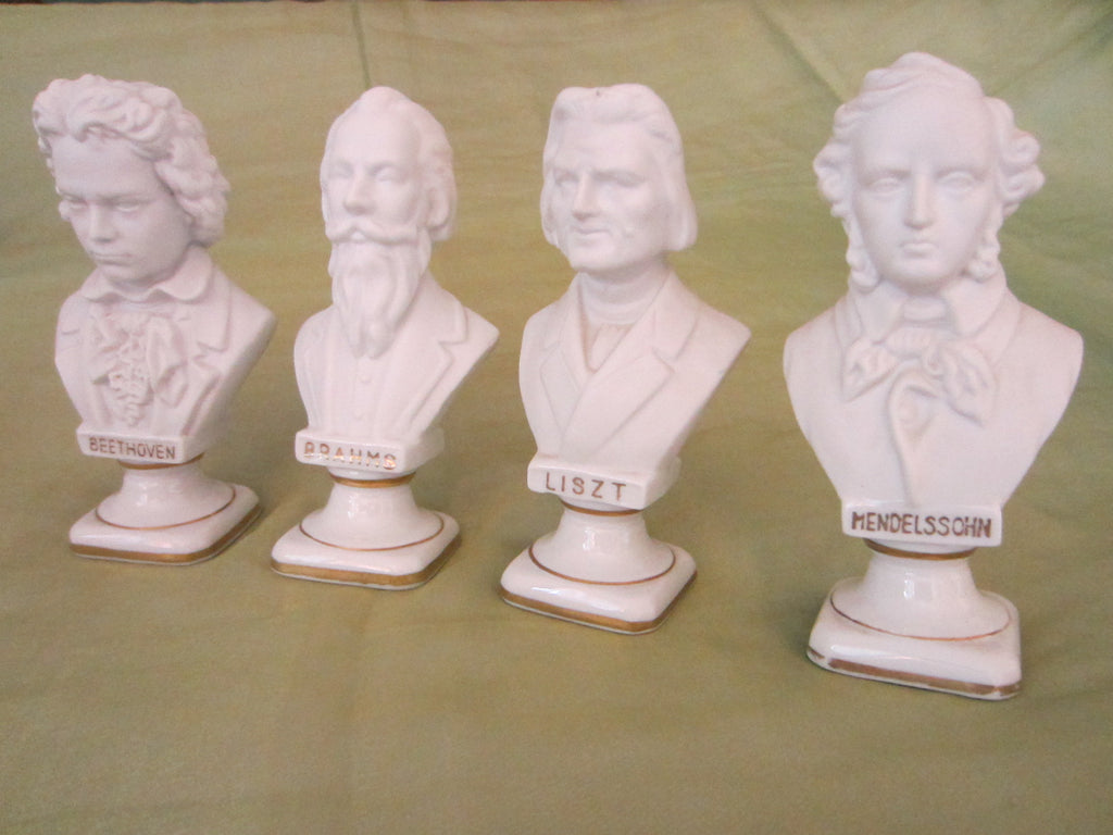 Andrea Japan European Composers Busts Bisque Figurine Suite - Designer Unique Finds   - 1