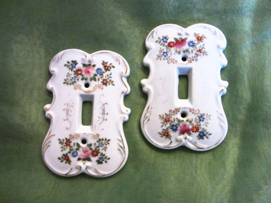 Arnart Creation Japan Porcelain Switch Plates Hand Painted Floral Design - Designer Unique Finds