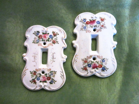 Porcelain Switch Covers Hand Painted Floral By Arnart Creation Japan - Designer Unique Finds   - 1