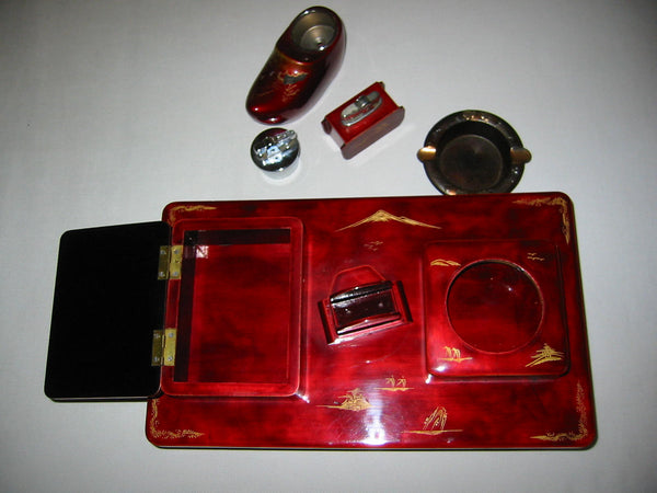 Chinoiserie Red Lacquered Figurative Dutch Music Box Smoking Set - Designer Unique Finds   - 6