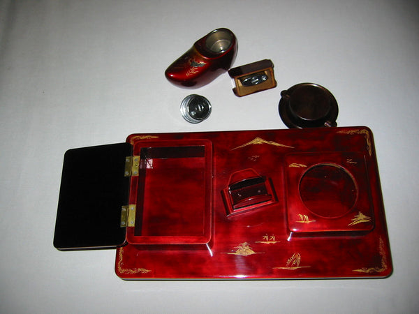Chinoiserie Red Lacquered Figurative Dutch Music Box Smoking Set - Designer Unique Finds   - 2
