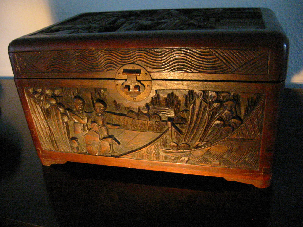 Asian Hand Carved Story Teller Wood Storage Box Hinged Brass Hardware - Designer Unique Finds - & Oriental Hand Carved Storyteller Decorative Asian Letter Box ...
