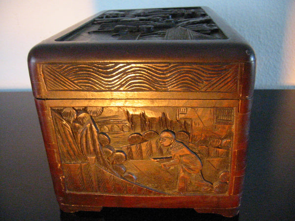 Oriental Hand Carved Storyteller Decorative Asian Letter Box - Designer Unique Finds