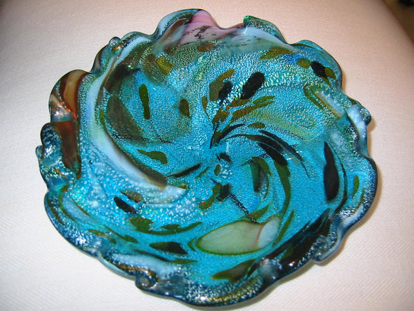 Murano Marbelized Glass Ruffle Bowl Attributed Dino Marten Design - Designer Unique Finds   - 1
