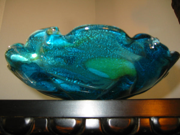 Murano Marbelized Glass Ruffle Bowl Attributed Dino Marten Design - Designer Unique Finds   - 4