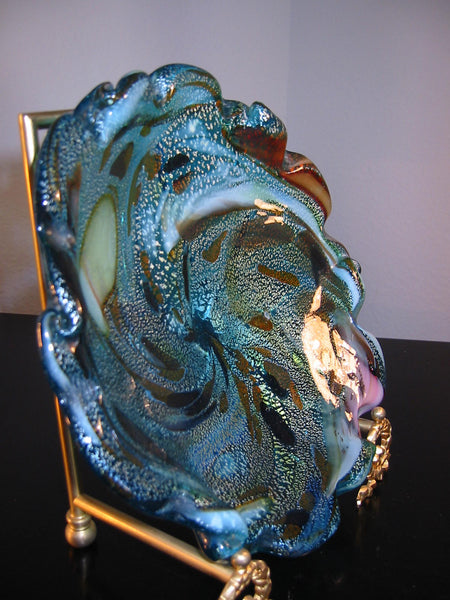 Murano Marbelized Glass Ruffle Bowl Attributed Dino Marten Design - Designer Unique Finds   - 6