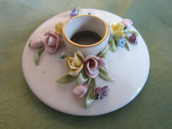 Capodimonte Candle Holders Italian Porcelain Marked N Applied Spring Flowers - Designer Unique Finds   - 2