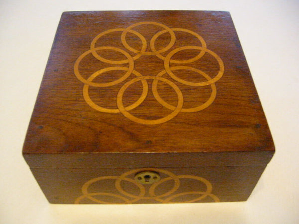 Mahogany Jewelry Box Art Deco Lined Inlaid Maple Marquetry
