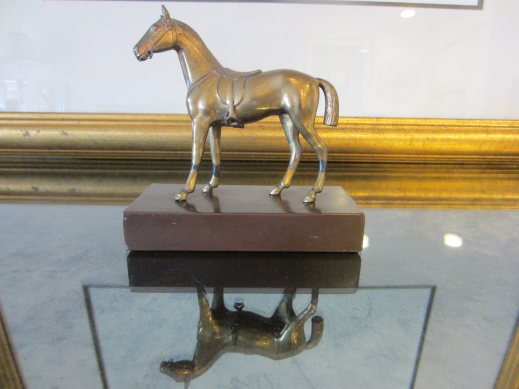 Bronze Horse Metal Base With Initial JB Mid Century Sculpture