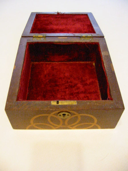 Mahogany Jewelry Box Art Deco Abstract Inlaid Marquetry - Designer Unique Finds   - 4