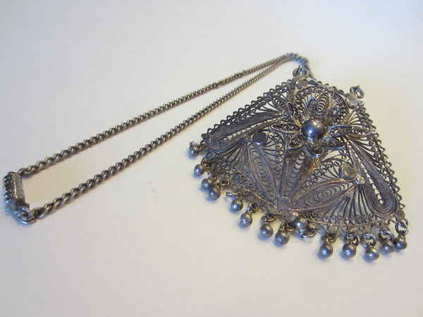 Silver Filigree Mesh Pendant Chain Necklace Floral Beading Decoration - Designer Unique Finds