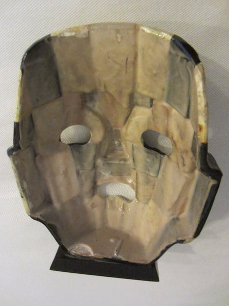 Mayan Aztec Ceremonial Abalone Mask Black Stone Stand - Designer Unique Finds